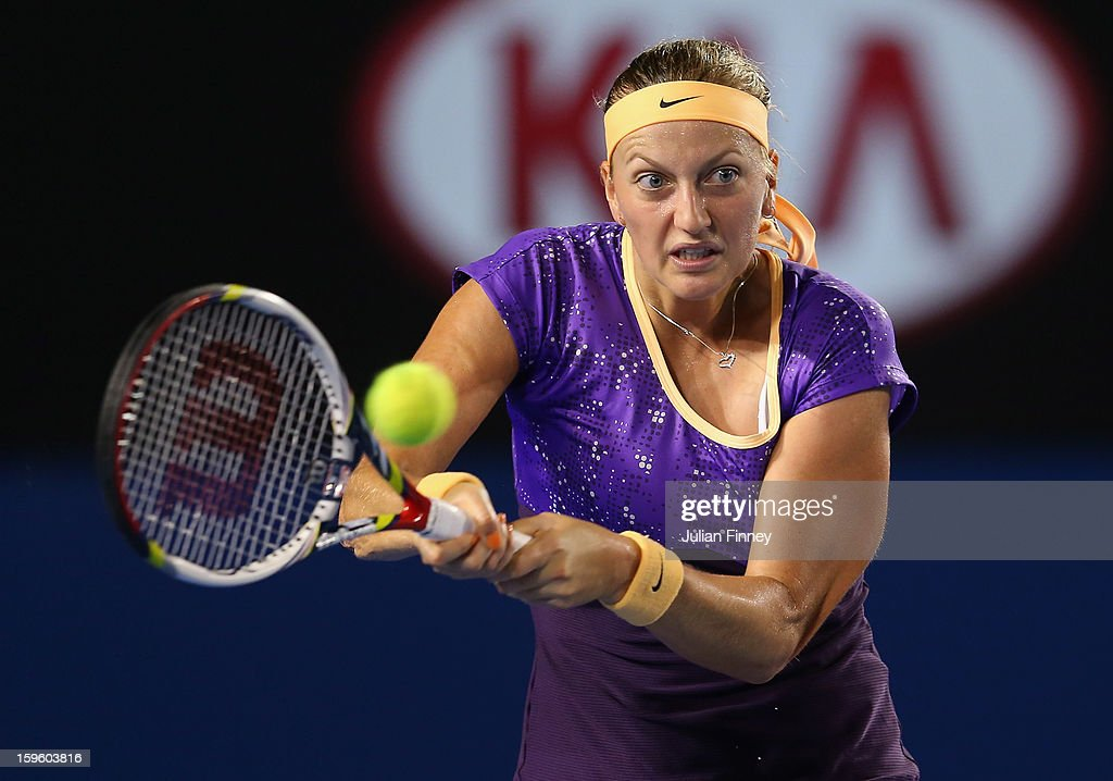 Petra Kvitova of Czech Republic plays a backhand in her second round match against Laura Robson of Great Britain during day four of the 2013 Australian Open at Melbourne Park on January 17, 2013 in Melbourne, Australia.