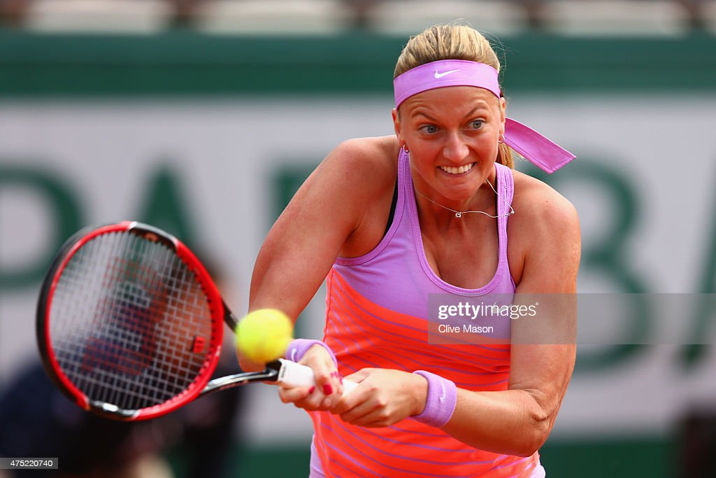 Petra Kvitova of Czech Republic plays a backhand in her Women's Singles match against Irina-Camelia Begu of Romania on day seven of the 2015 French Open at Roland Garros on May 30, 2015 in Paris, France.