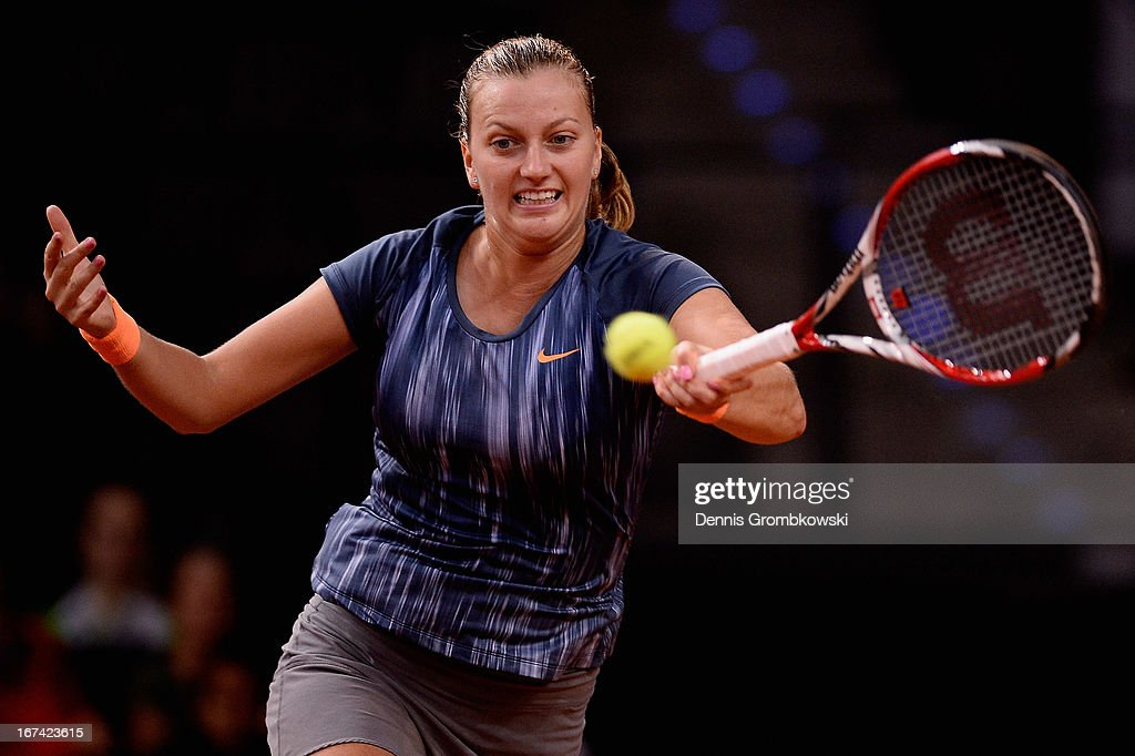 Petra Kvitova of Czech Republic plays a forehand in her match against Julia Goerges of Germany during Day 4 of the Porsche Tennis Grand Prix at Porsche-Arena on April 25, 2013 in Stuttgart, Germany.
