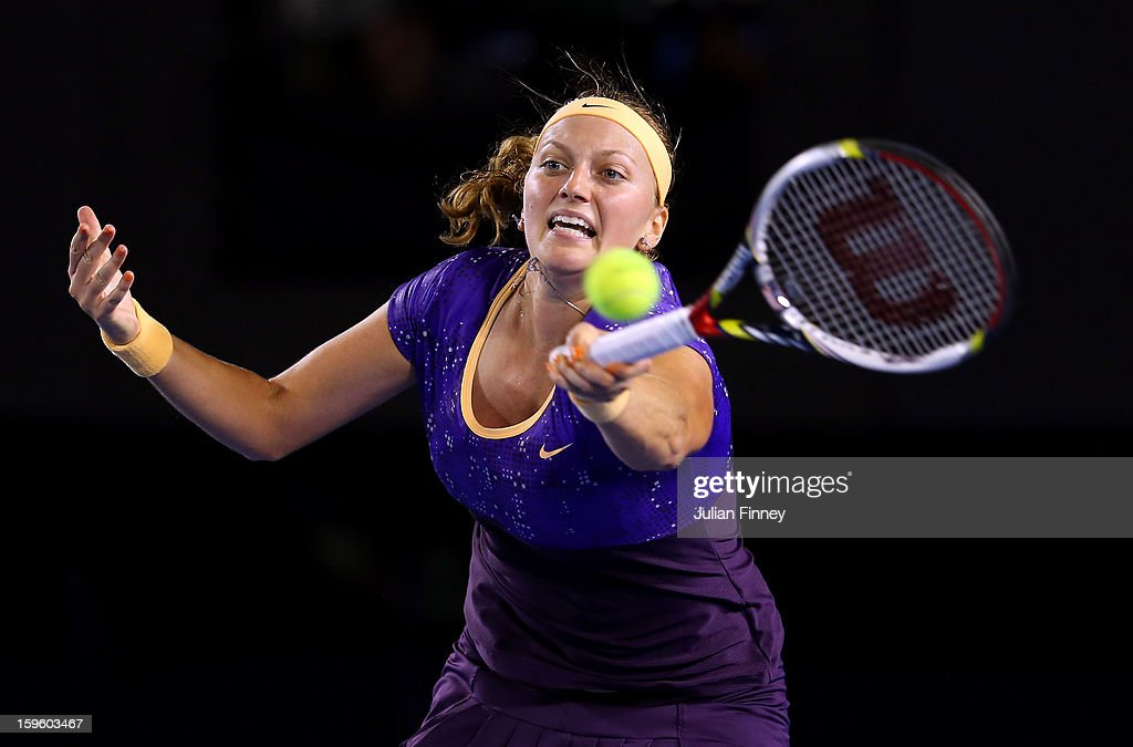 Petra Kvitova of Czech Republic plays a forehand in her second round match against Laura Robson of Great Britain during day four of the 2013 Australian Open at Melbourne Park on January 17, 2013 in Melbourne, Australia.