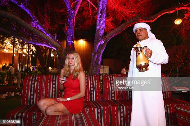 Petra Kvitova of Czech Republic pose for a picture at the players party during day two of the WTA Dubai Duty Free Tennis Championship at the Dubai...