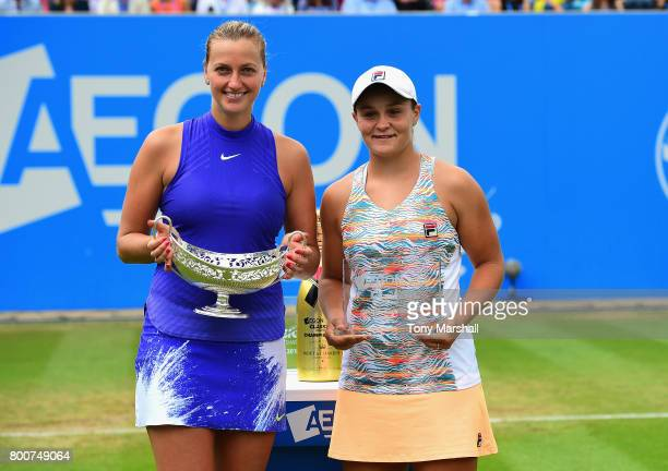 Petra Kvitova of Czech Republic poses with the Maud Watson Trophy and runner up Ashleigh Barty of Australia during the Aegon Classic Birmingham Final...