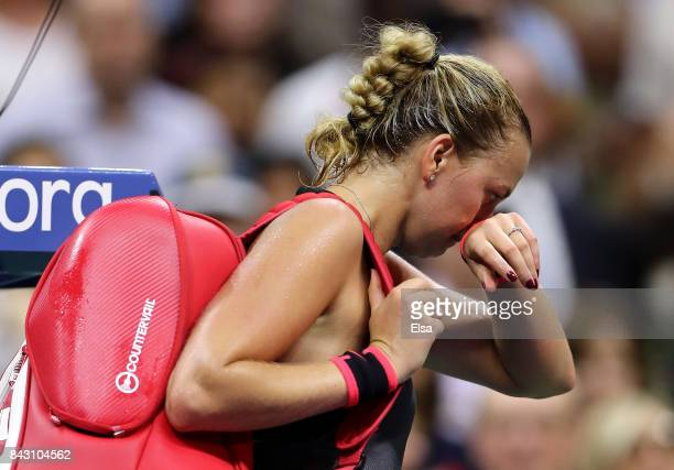 Petra Kvitova of Czech Republic reacts after being defeated by Venus Williams of the United States during her Women's Singles Quarterfinal Match on...