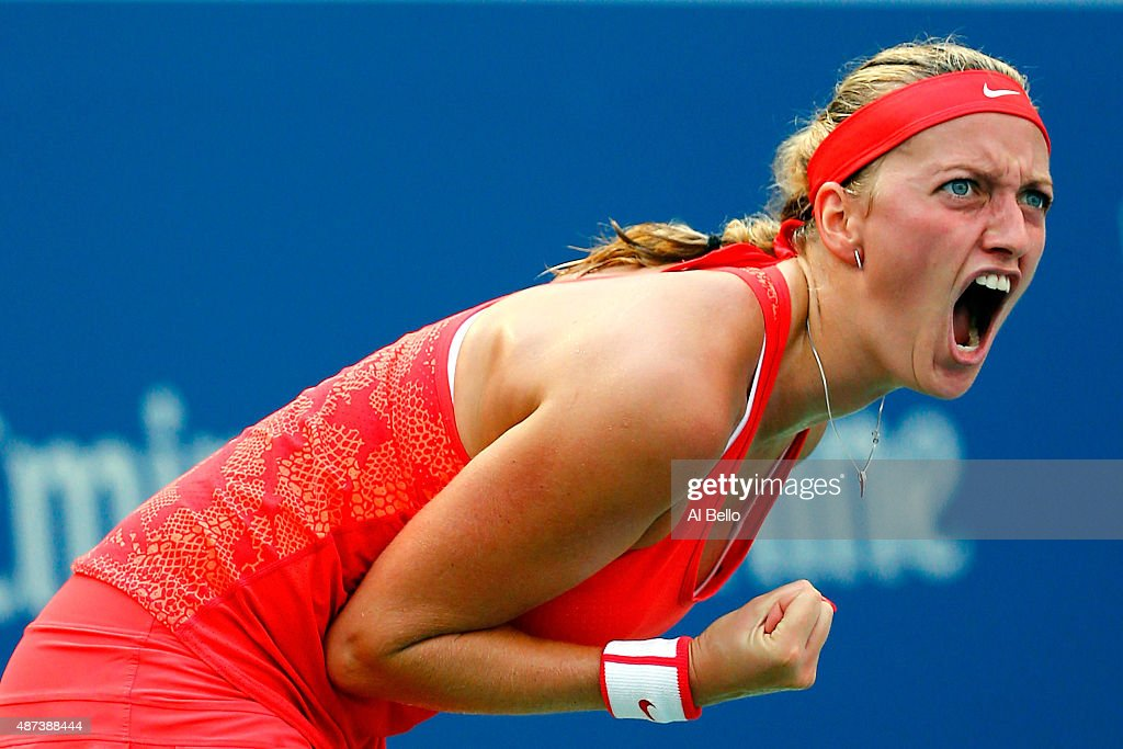 Petra Kvitova of Czech Republic reacts against Flavia Pennetta of Italy during their Women's Singles Quarterfinals match on Day Ten of the 2015 US Open at the USTA Billie Jean King National Tennis Center on September 9, 2015 in the Flushing neighborhood of the Queens borough of New York City.