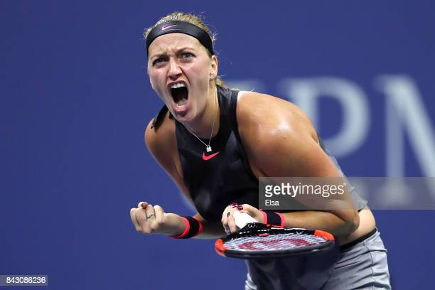 Petra Kvitova of Czech Republic reacts against Venus Williams of the United States during her Women's Singles Quarterfinal Match on Day Nine of the...