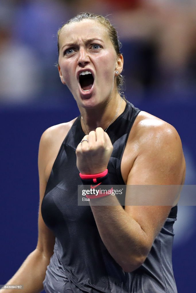 Petra Kvitova of Czech Republic reacts against Venus Williams of the United States during her Women's Singles Quarterfinal Match on Day Nine of the 2017 US Open at the USTA Billie Jean King National Tennis Center on September 5, 2017 in the Flushing neighborhood of the Queens borough of New York City.