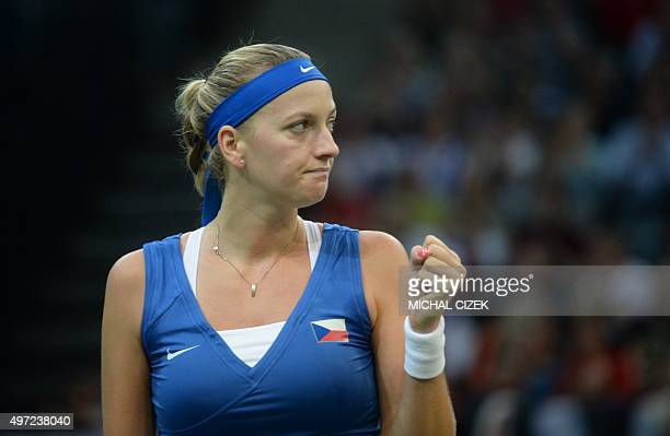 Petra Kvitova of Czech Republic reacts during her match against Maria Sharapova of Russia at the International Tennis Federation Fed Cup final match...