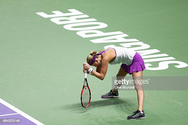 Petra Kvitova of Czech Republic reacts during her round robin match Angelique Kerber of Germany during the BNP Paribas WTA Finals at Singapore Sports...