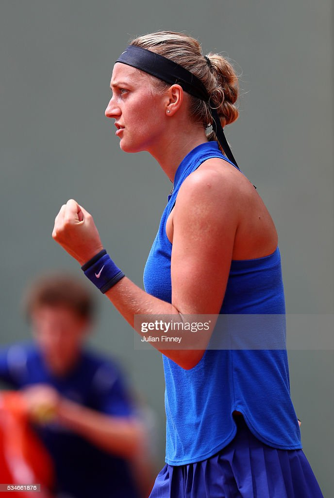 Petra Kvitova of Czech Republic reacts during the Ladies Singles third round match against Shelby Rogers of the United States on day six of the 2016 French Open at Roland Garros on May 27, 2016 in Paris, France.