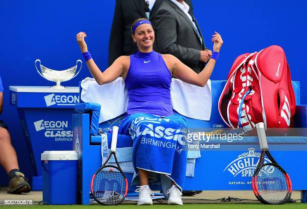 Petra Kvitova of Czech Republic relaxes inbetween games during the Aegon Classic Birmingham Final at Edgbaston Priory Club on June 25 2017 in...