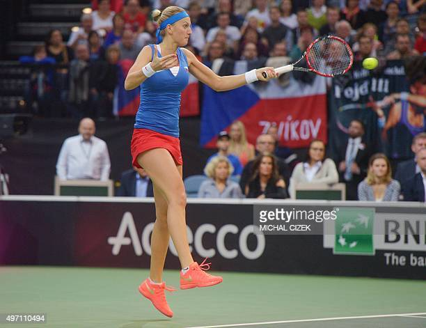Petra Kvitova of Czech Republic returns a ball to Anastasia Pavlyuchenkova of Russia during the International Tennis Federation Fed Cup final match...