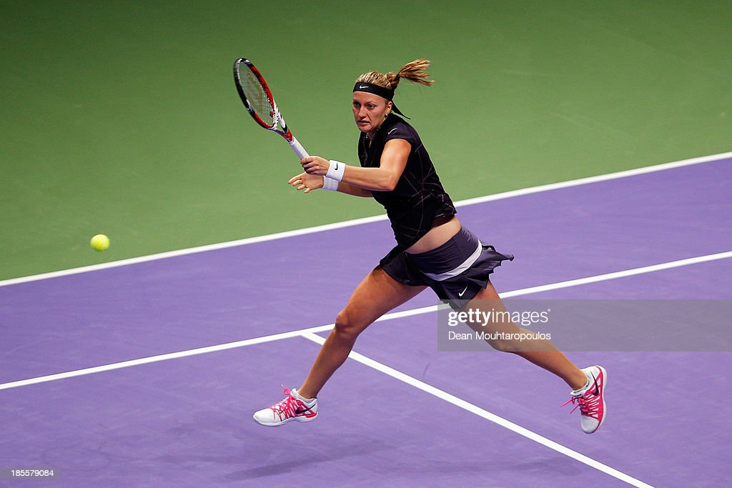 Petra Kvitova of Czech Republic returns a forehand to Agnieszka Radwanska of Poland during day one of the TEB BNP Paribas WTA Championships at the Sinan Erdem Dome October 22, 2013 in Istanbul, Turkey.