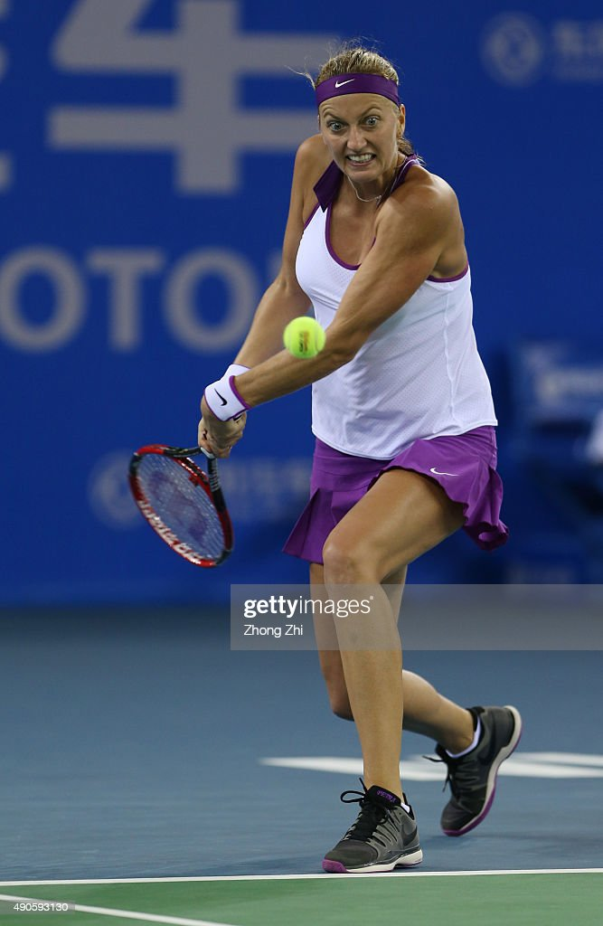 Petra Kvitova of Czech Republic returns a shot during the match against Daria Gavrilova of Russia on Day 3 of 2015 Dongfeng Motor Wuhan Open at Optics Valley International Tennis Center on September 29, 2015 in Wuhan, China.