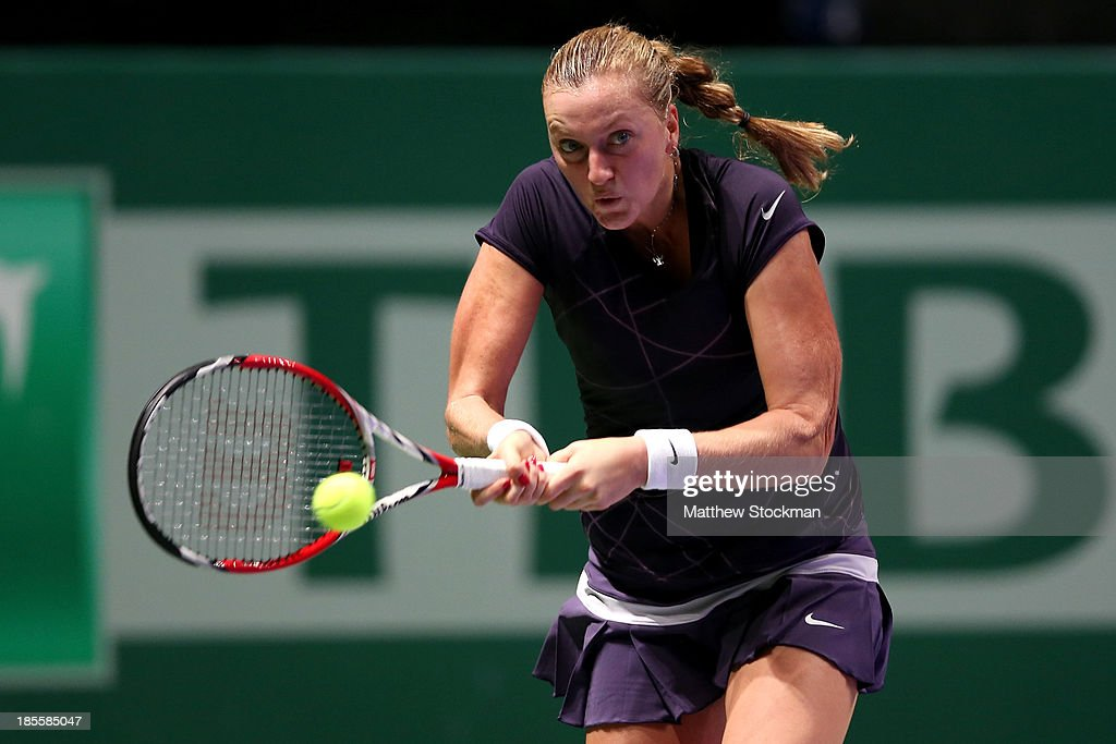 Petra Kvitova of Czech Republic returns a shot to Agnieszka Radwanska of Poland during day one of the TEB BNP Paribas WTA Championships at the Sinan Erdem Dome on October 22, 2013 in Istanbul, Turkey.