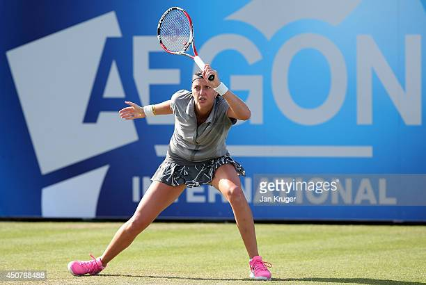 Petra Kvitova of Czech Republic returns against Lucie Safarova of Czech Republic during their singles match on day four of the Aegon International at...
