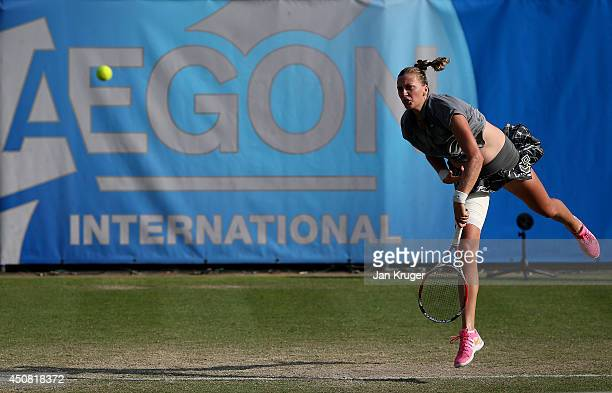 Petra Kvitova of Czech Republic serves against Varvara Lepchenko of USA during their Women's Singles match on day five of the Aegon International at...
