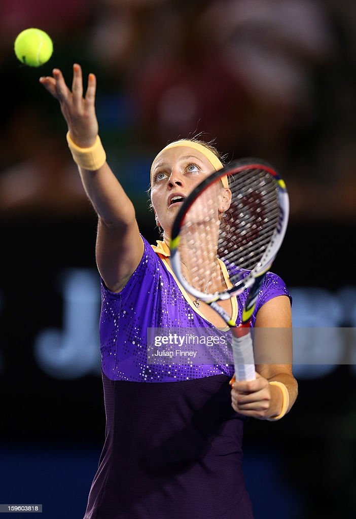 Petra Kvitova of Czech Republic serves in her second round match against Laura Robson of Great Britain during day four of the 2013 Australian Open at Melbourne Park on January 17, 2013 in Melbourne, Australia.