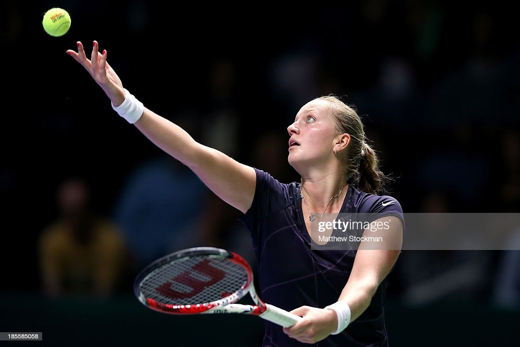 Petra Kvitova of Czech Republic serves to Agnieszka Radwanska of Poland during day one of the TEB BNP Paribas WTA Championships at the Sinan Erdem Dome on October 22, 2013 in Istanbul, Turkey.
