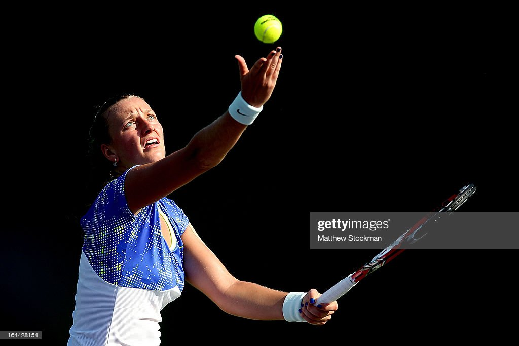 Petra Kvitova of Czech Republic serves to Kirsten Flipkens of Belgium during the Sony Open at Crandon Park Tennis Center on March 23, 2013 in Key Biscayne, Florida.