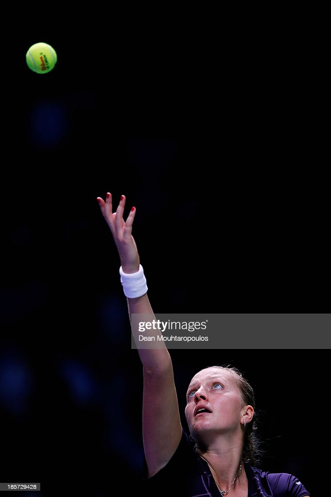 Petra Kvitova of Czech Republic serves to Serena Williams of the United States during day three of the TEB BNP Paribas WTA Championships at the Sinan Erdem Dome October 24, 2013 in Istanbul, Turkey.