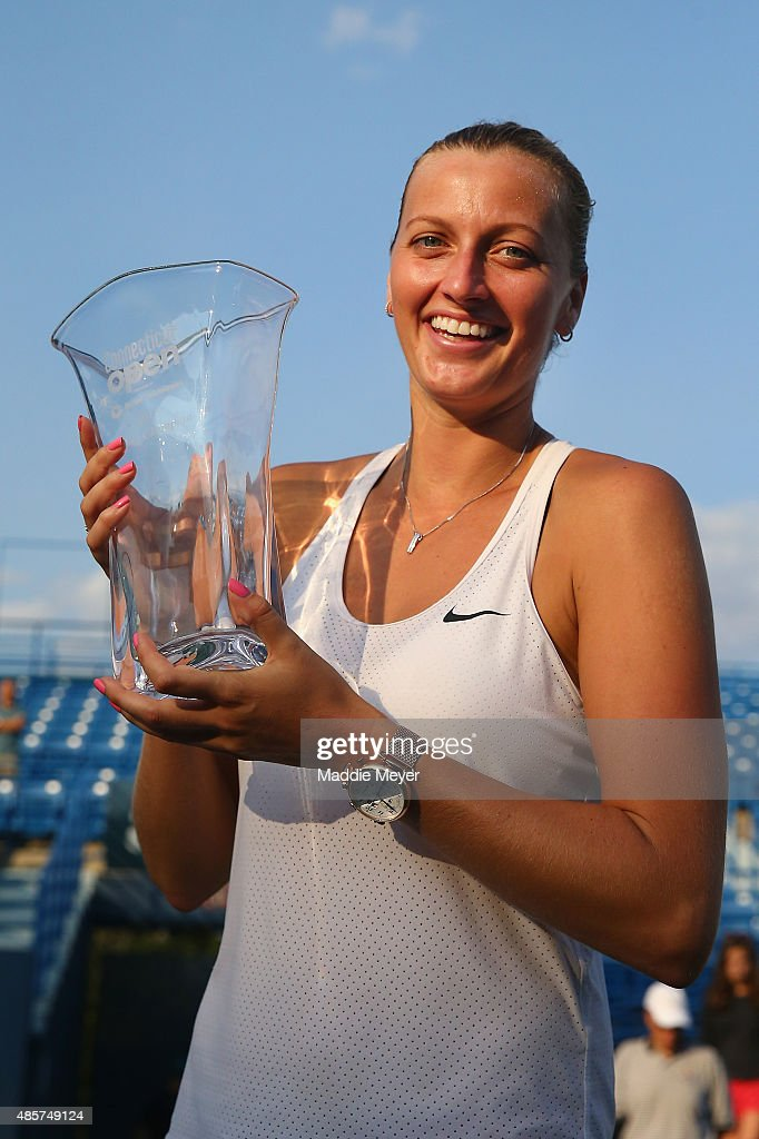 Petra Kvitova of Czech Republic stands with her trophy after defeating Lucie Safarova of Czech Republic in the final round on Day 6 of the Connecticut Open at Connecticut Tennis Center at Yale on August 29, 2015 in New Haven, Connecticut.