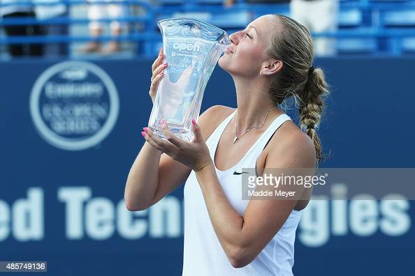 Petra Kvitova of Czech Republic stands with her trophy after defeating Lucie Safarova of Czech Republic in the final round on Day 6 of the...