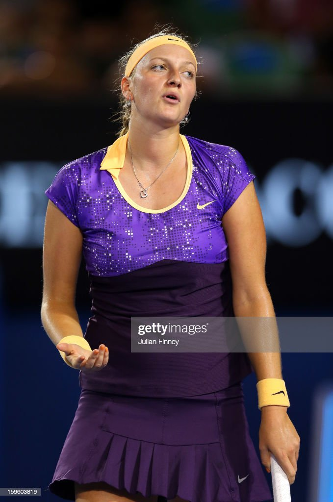 Petra Kvitova of Czech Republic struggles in her second round match against Laura Robson of Great Britain during day four of the 2013 Australian Open at Melbourne Park on January 17, 2013 in Melbourne, Australia.