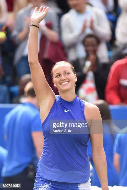 Petra Kvitova of Czech Republic waves to the fans after winning the final match against Ashleigh Barty of Australia on day seven of The Aegon Classic...