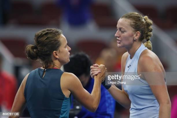 Petra Kvitova of the Czech Repubic is congratulated by Barbora Strycova of the Czech Republic after winning the Women's singles Quarterfinals match...