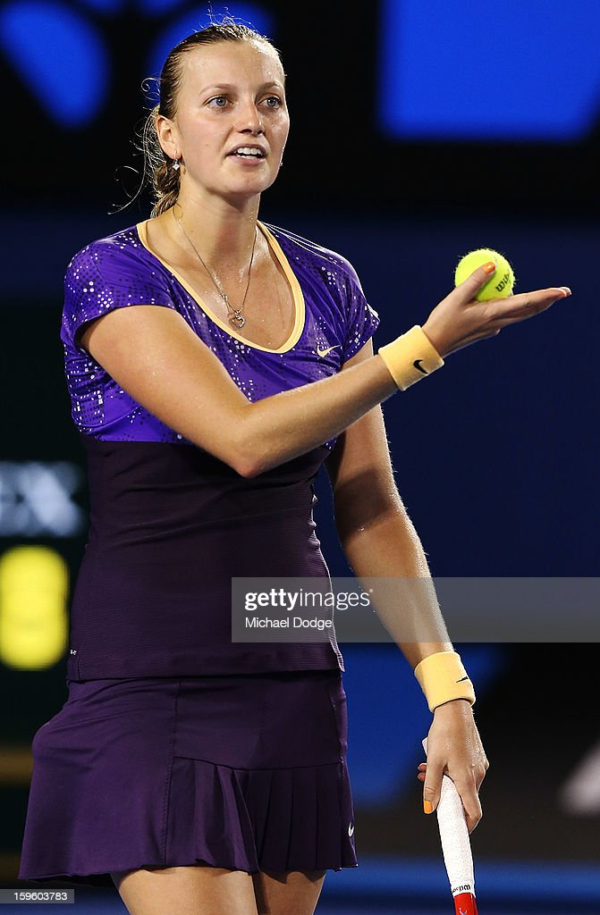 Petra Kvitova of the Czech Republic argues with the umpire in her second round match against Laura Robson of Great Britain during day four of the 2013 Australian Open at Melbourne Park on January 17, 2013 in Melbourne, Australia.