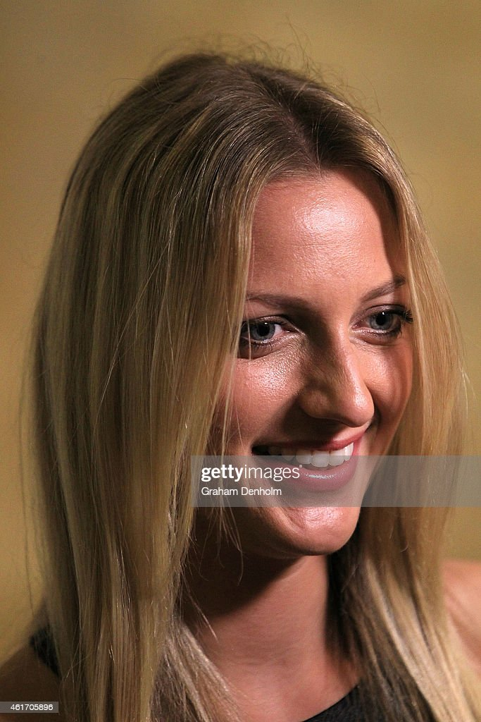 Petra Kvitova of the Czech Republic arrives for Crown's IMG@23 Tennis Players' Party at Crown Entertainment Complex on January 18, 2015 in Melbourne, Australia.