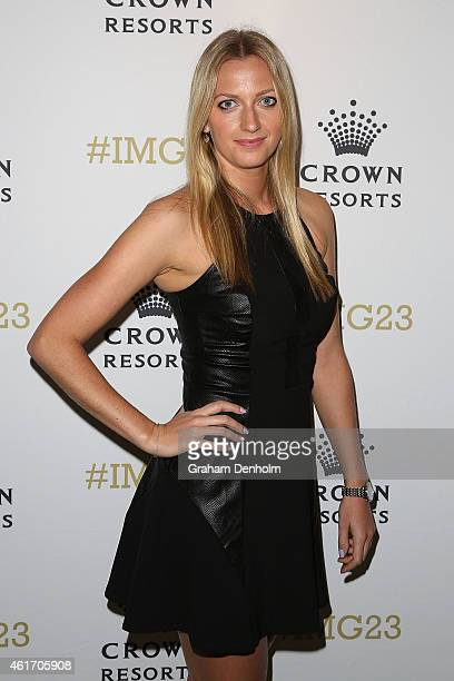 Petra Kvitova of the Czech Republic arrives for Crown's IMG@23 Tennis Players' Party at Crown Entertainment Complex on January 18 2015 in Melbourne...