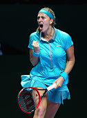 Petra Kvitova of the Czech Republic celebrates a point againstMaria Sharapova of Russia in their round robin match during the BNP Paribas WTA Finals...
