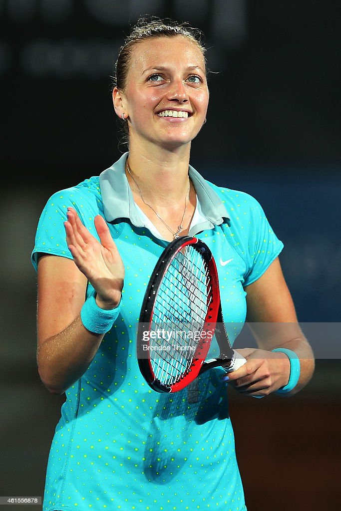 Petra Kvitova of the Czech Republic celebrates after victory in her semi final match against Tsvetana Pironkova of Bulgaria during day five of the...