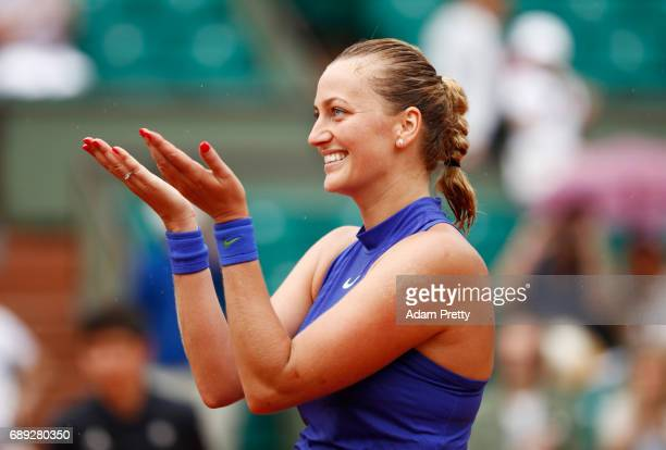 Petra Kvitova of the Czech Republic celebrates following her victory during the ladies singles first round match against Julia Boserup of the United...