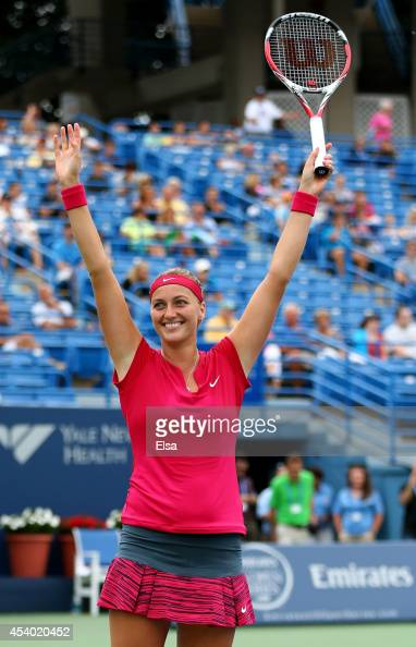 Petra Kvitova of the Czech Republic celebrates her match point win over Magdalena Rybarikova of Slovakia during the women's final of the Connecticut...