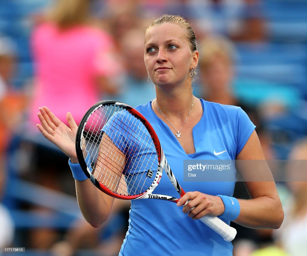 Petra Kvitova of the Czech Republic celebrates her match win over Alison Riske of the USA during Day Four of the New Haven Open at Connecticut Tennis Center at Yale on August 21, 2013 in New Haven, Connecticut.