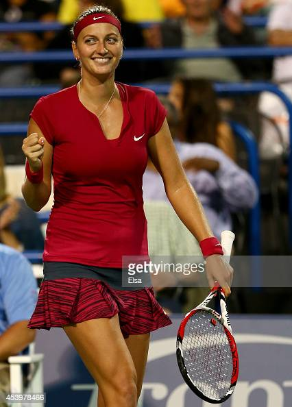 Petra Kvitova of the Czech Republic celebrates her match win over Samantha Stosur of Australia during the Connecticut Open at the Connecticut Tennis...