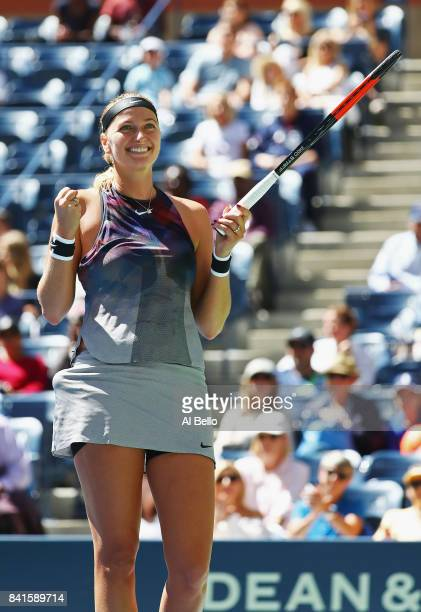 Petra Kvitova of the Czech Republic celebrates her third round victory over Caroline Garcia of France on Day Five of the 2017 US Open at the USTA...