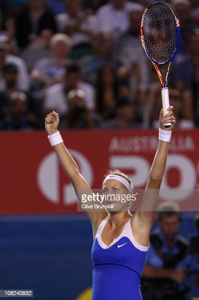 Petra Kvitova of the Czech Republic celebrates match point in the first in her third round match against Samantha Stosur of Australia during day six...