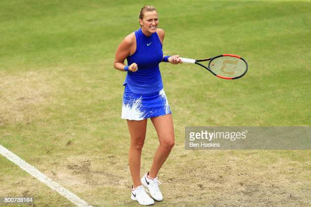 Petra Kvitova of the Czech Republic celebrates victory after the Women's Singles final match against Ashleigh Barty on day seven of the Aegon Classic...