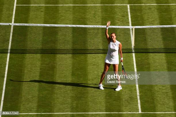 Petra Kvitova of The Czech Republic celebrates victory after the Ladies Singles first round match on day one of the Wimbledon Lawn Tennis...