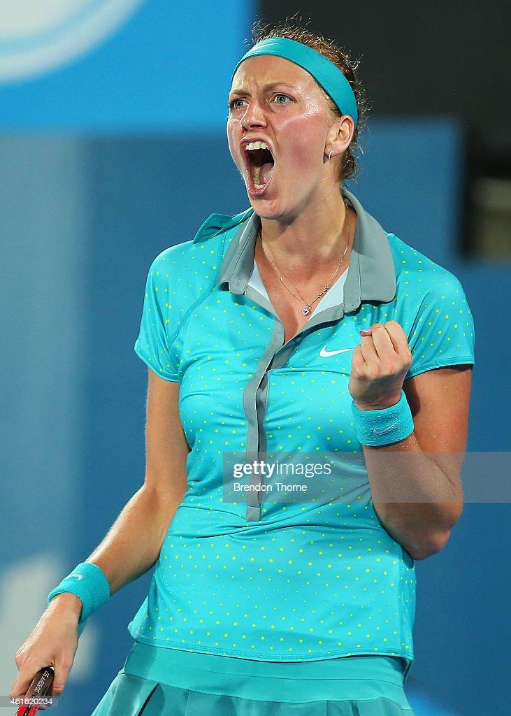Petra Kvitova of the Czech Republic celebrates winning a break point in the Womens Singles Final match against Karolina Pliskova of the Czech...