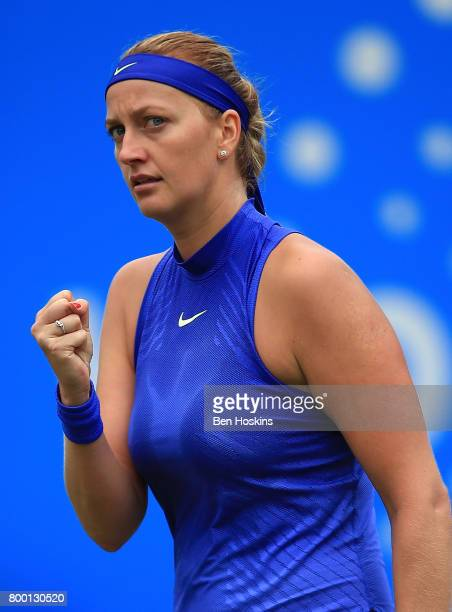 Petra Kvitova of The Czech Republic celebrates winning a point during the quarter final match against Kristina Mladenovic of France on day five of...