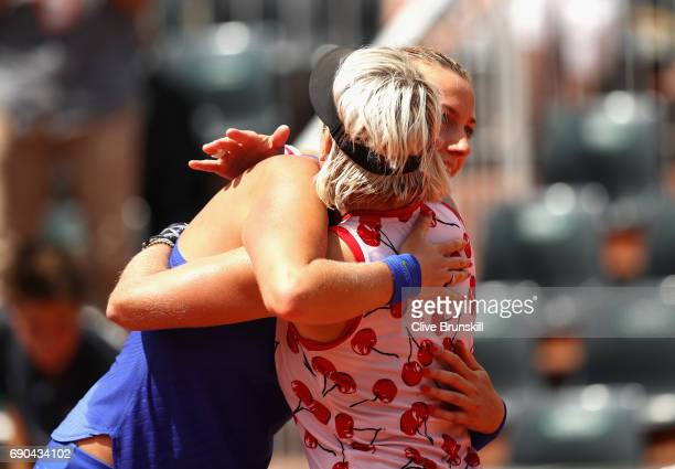 Petra Kvitova of The Czech Republic congratulates Bethanie MattekSands of The United States on victory following the ladies singles second round...