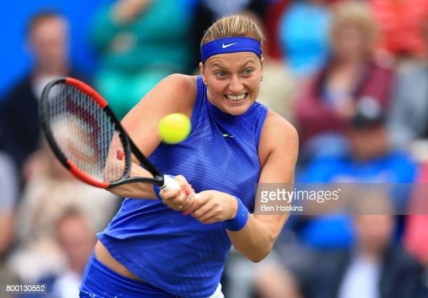 Petra Kvitova of The Czech Republic hits a backhand during the quarter final match against Kristina Mladenovic of France on day five of The Aegon...