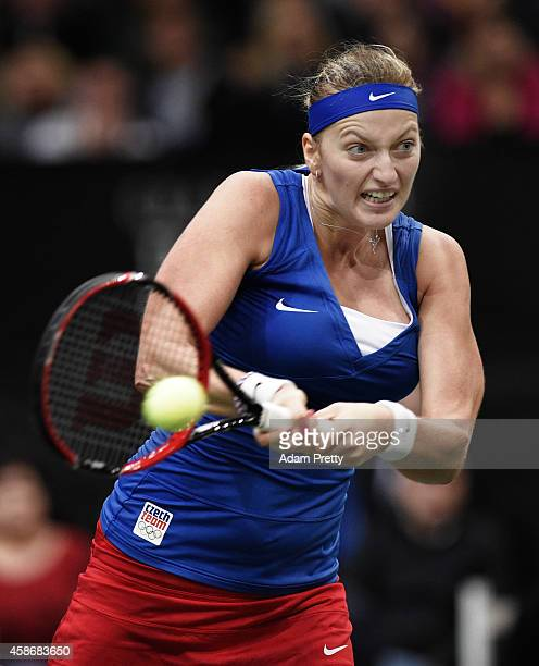 Petra Kvitova of the Czech Republic hits a backhand during the third rubber of the Fed Cup Final between Petra Kvitova of the Czech Republic and...