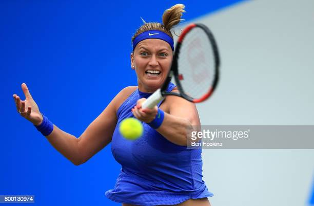 Petra Kvitova of The Czech Republic hits a forehand during the quarter final match against Kristina Mladenovic of France on day five of The Aegon...
