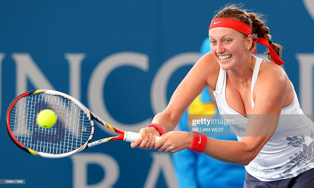 Petra Kvitova of the Czech Republic hits a forehand return during her loss to Anastasia Pavlyuchenkova of Russia in their second round women's singles match at the Brisbane International tennis tournament on January 1, 2013. AFP PHOTO/William WEST IMAGE