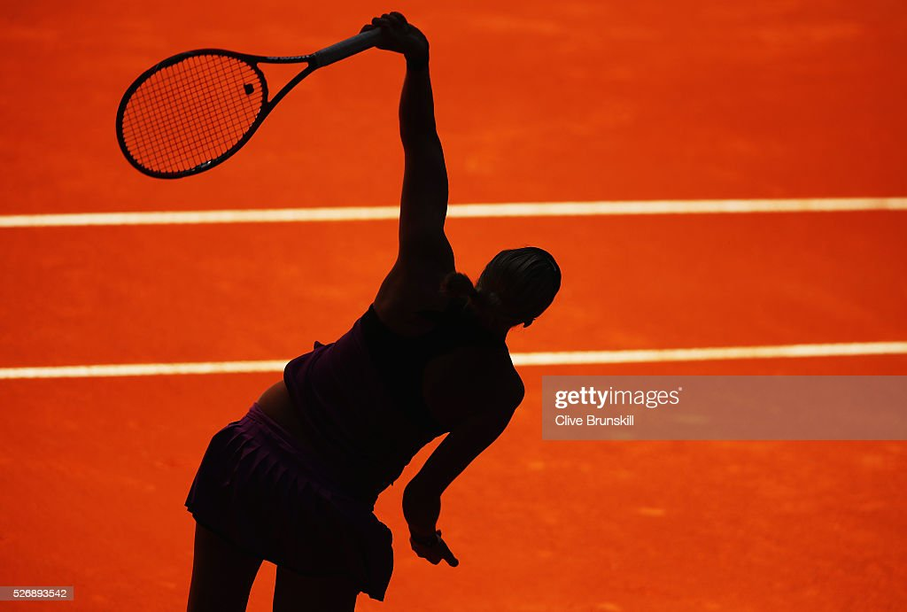 Petra Kvitova of the Czech Republic in action against Lara Arruabarrena of Spain in their first round match during day two of the Mutua Madrid Open tennis tournament at the Caja Magica on May 01, 2016 in Madrid,Spain